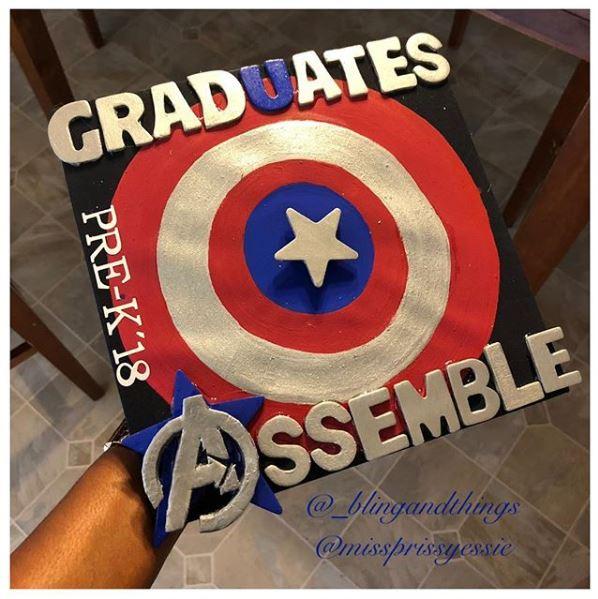 Captain America Graduation Cap