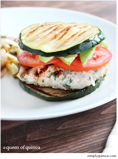 Herbed Turkey Burgers with Zucchini Buns
